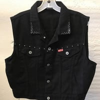 Jean Denim vest Vintage 1990s Cotton Black Cest Toi Cropped Studded Women's size L