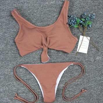Sexy coffee chest knot two piece bath suit bikini vest type bottom side knot swimsuit 10 color