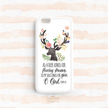 As a deer longs for flowing streams Psalm 42:1 Bible Verse Scripture Quote iPhone SE 6s plus 5s 4s Case Galaxy s4 s5 s6 s7, Note 3 4 5 Qt05