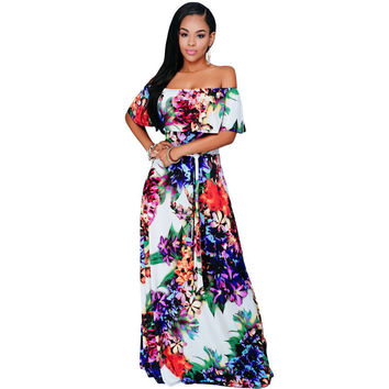 African Floral Print Dresses Tunic Beach Floor Length Dress Evening Slash Neck Elegant Party  Casual Long Dress SM6