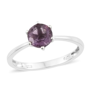 Purple Fluorite Platinum Over Sterling Silver Solitaire Ring