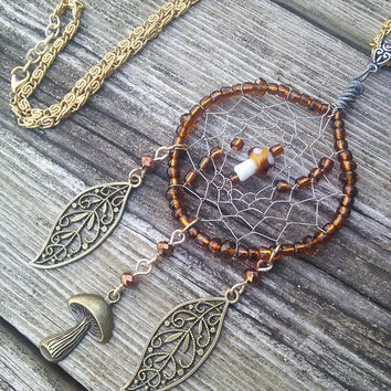 Mushroom Dreamcatcher Necklace, Dream Catcher Pendant, Boho Leaf Pendant, Brown Dreamcatcher, Glass Mushroom Pendant, LARP Cosplay Pagan