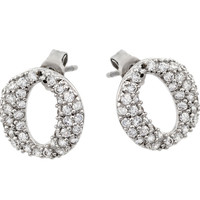 Sterling Silver Rhodium Plated Round Oval Stud Earrings