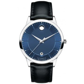 Men's Movado 1881 Automatic Blue Dial Leather Strap Watch
