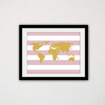"Gold Map. Pink Stripes. Baby Girl. Nursery. Baby Wall Art. Minimalist. World map. Travel. Simple. Custom Colors. 8.5x11"" Prints."