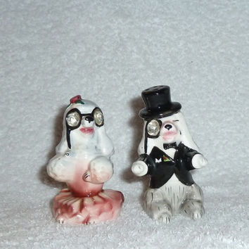 Vintage Lefton Poodle Dog Salt and Pepper Shakers Fancy Opera Couple Rhinestone Eyes Figurines