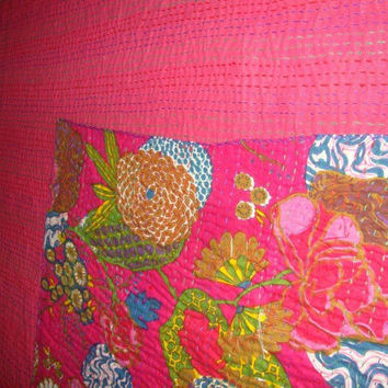 Pink Floral Hand stitched New Kantha Quilt Cotton Bedspread throw blanket