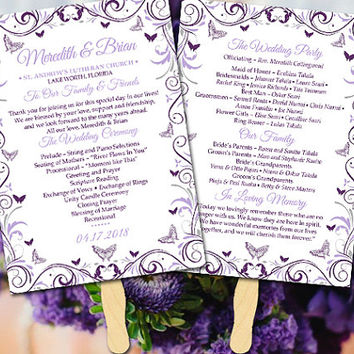 Butterfly Wedding Program Fan Template
