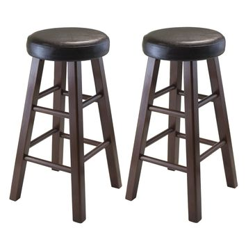 Marta Set of 2 Round Counter Stool, PU Leather Cushion Seat, Square Legs
