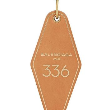 "Gold Hotel Diamond ""336"" Keychain by Balenciaga"