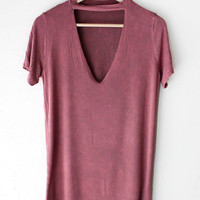 Deep V-neck Cutout Acid Wash Shirt - Burgundy