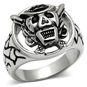 Silver Exotic Faces Mens Ring
