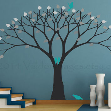 Shades of grey tree wall decal, wall sticker, vinyl graphic wall decal, love birds decal, decal, wall decal