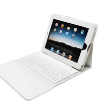 White Ipad 2 & Ipad 3 Leather Case With Stand & Bluetooth Wireless Keyboard + NEW Easy Sync feature TM IPAD2 IPAD3