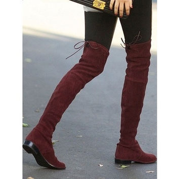 new fashion Women boots winter spring ladies fashion flat bottom boots shoes over the knee high leg suede long boots brand designer [8833485772]