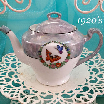 1920's Antique Teapot, Japanese Teapot, Shabby Cottage Chic Decor, Vintage Lustreware Tea Pot Japan, Butterflies, Wedding Gift