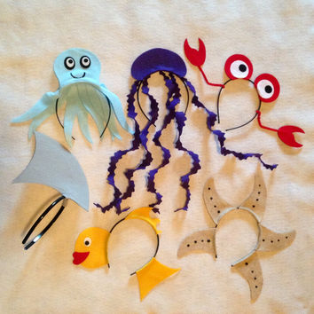 6 Headbands Under the sea ocean beach Theme birthday party favors supplies costume ideas