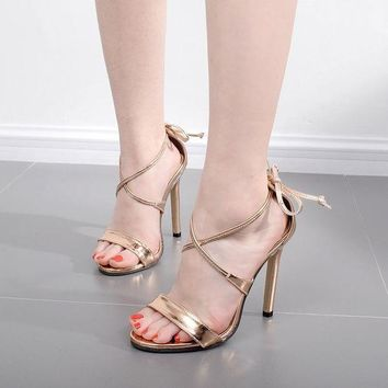 ONETOW Straps Cross Ankle Lace Up Open Toe High Heels Sandals