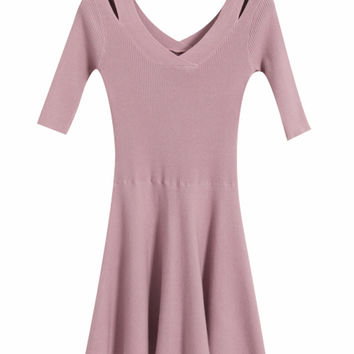V-Neck Cutout  Ruffled A-Line Knitted Dress With Half Sleeves