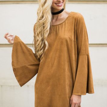 Easy To Per Suede Caramel Brown Dress