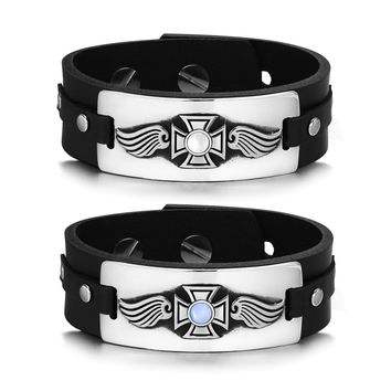 Guardian Angel Wings Viking Celtic Cross Couples Blue White Simulated Cats Eye Leather Bracelets