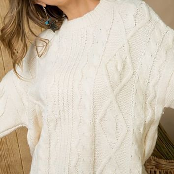 Winter Whispers Long Sleeve Crew  Neck Cable Knit Pullover Sweater - 2 Colors Available