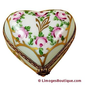 LIGHT BLUE FLORAL HEART LIMOGES BOXES