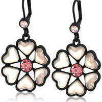 "Betsey Johnson ""Memoirs of Betsey"" Heart Petal Flower Drop Earrings"