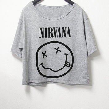 Nirvana,crop top, grey color, women crop shirt, screenprint tshirt, graphic tee
