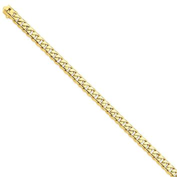 14k Yellow Gold 7.25mm Men Rounded Curb Chain Bracelet - Fine Jewelry Gift