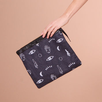 Oversized Printed Icon Pouch