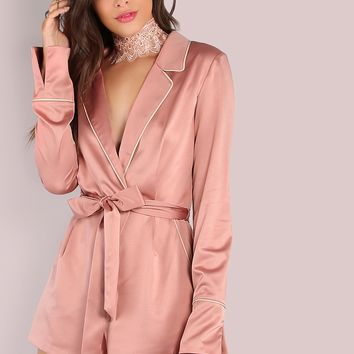 Piped Lapel Satin Romper ROSE GOLD