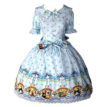 Partiss Womens Classic Rabbits Printed Sweet Lolita Dress Summer Bowknots OP