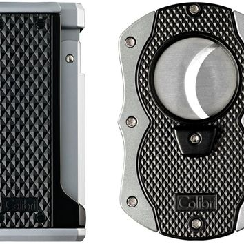 Colibri Monza Triple Flame Lighter and Cigar Cutter Gift Set