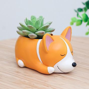 2017 New Mini Small Flowerpot Sleeping Dog Animal Ceramic Succulent Plant Pot Holder Fairy Garden Cactus Flower Pots Planter