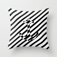Stripes Nautical Anchor Black White Color Block Throw Pillow by Girly Trend   Society6
