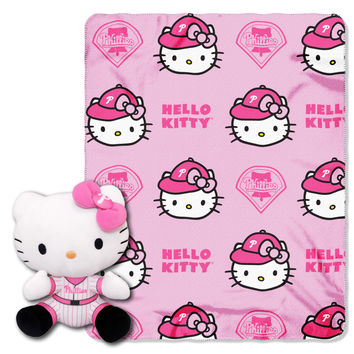 Phillies  40x50 Fleece Throw and Hello Kitty Character Pillow Set