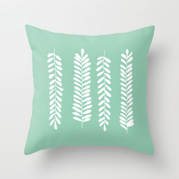 Seafoam Pastel Fern Leaves Pillow Cover, rustic home decor, pastel green decorative pillow, nursery decor