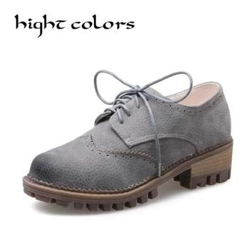 2018 Spring Women Oxford Shoes Vintage Round Toe Women Mid Heel Bullock Shoes England Style Ladies Shoes Chaussure Femmer 26.5cm