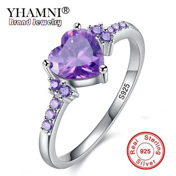 YHAMNI 2018 New Fashion Natural Precious Stone Rings 925 Sterling Silver Heart Purple Crystal Wedding Rings for Women R988