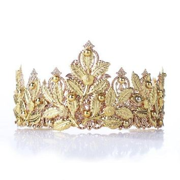 Baroque Red Gold Wedding Tiara Crown Queen Cosplay