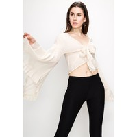 Cream Bell Sleeve Polyester Top