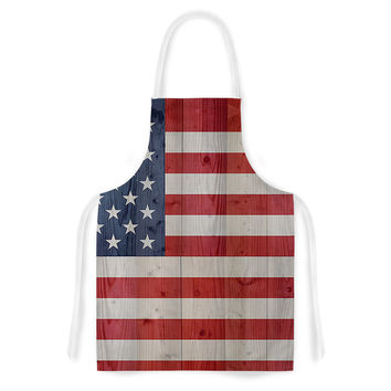 "Bruce Stanfield ""USA Flag On Spruce"" Blue Red Artistic Apron"