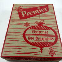 Vintage Pemier Ornaments Box Only Christmas Gift Box Christmas Storage Box Christmas Ornament Storage Christmas Red Bulb Ephemera Paper Box