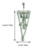 New Charming Dangle Crystal Navel Belly Ring Bling Barbell Button Ring Piercing Body Jewelry = 4804873284