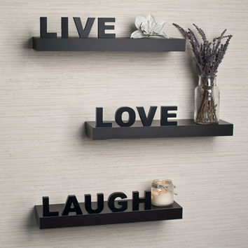 "Danya B decorative ""Live"" ""Love"" ""Laugh"" Black Wall Shelves (Set of 3)"