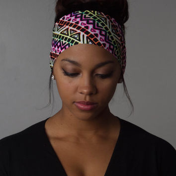 Wide Yoga Headband Neon Aztec FLAWLESS by Manda Bees - SIDEWALK CHALK