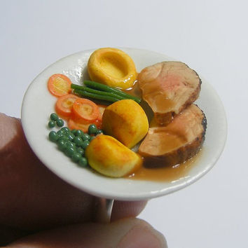 Scented or Unscented Roast Beef Dinner Miniature Food Ring - Miniature Food Jewelry