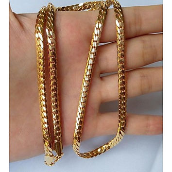 Men's 4MM 18K Gold Plated Figaro Chain Necklaces 22 Inch With Stamp