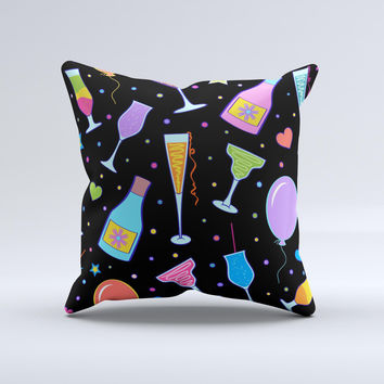 Neon Party Drinks  Ink-Fuzed Decorative Throw Pillow